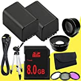 TWO BP-819 Lithium Ion Replacement Battery + 8GB SDHC Class 10 Memory Card + 43mm 3 Piece Filter Kit + Wide Angle Lens + 2x Telephoto Lens + Mini HDMI Cable + Full Size Tripod for Canon Vixia HFM40 HFM41 HFM400 HV30 Digital Camcorders DavisMAX BP819 Accessory Bundle