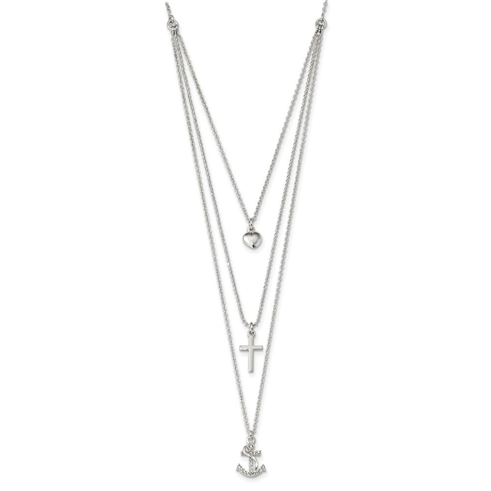 Top 10 Jewelry Gift Sterling Silver Polished CZ Heart/Cross/Anchor Multi-Strand 16in Necklace