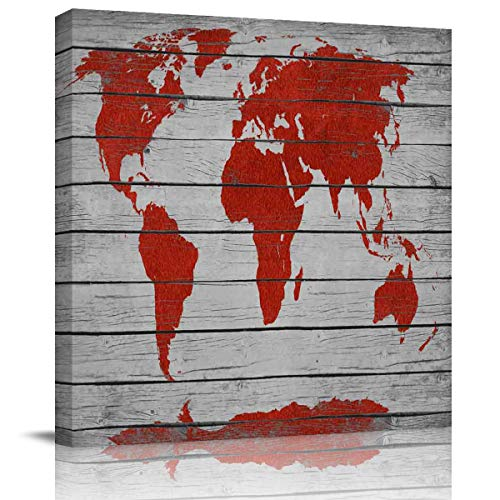 (Edwiinsa Canva Print Painting Wall Art Decor, Red World Map Printed on Wooden Boards Modern Stretched and Framed Artwork Gallery Decor Giclee Art for Bedroom/Living Room Square 28'' x 28'')