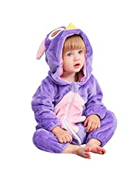 LOLANTA Baby Girls Hooded Cartoon Romper Toddler Piggy Owl Flannel Onesie Pajamas