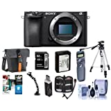 Sony Alpha a6500 Mirrorless Digital Camera Body - Bundle with 32GB SDHC U3 Card, Holster Case, Spare Battery, Tripod, Remote Shutter Trigger, Memory Wallet, Card Reader, Software Package and More