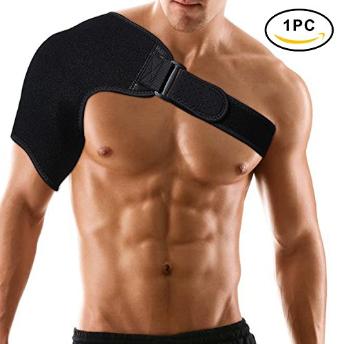 Shoulder Support Brace by FILWO, Adjustable Neoprene Shoulder Stability Support for Rotator Cuff, Dislocated AC Joint, Shoulder Pain, Light and Breathable With Adjustable Strap for Right & Left Should (Flashlight Fits X1)