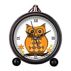 Vintage Retro Living Room Decorative Non-ticking, HD Glass Lens, Easy to Read, Quartz, Analog Large Numerals Bedside Table Desk Alarm Clock-286.owl bird halloween orange cute art crafting