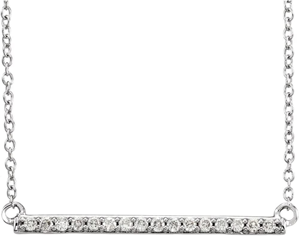 """Jewels By Lux 14k White Gold 1/6 CTW Diamond Bar 18"""" Necklace"""