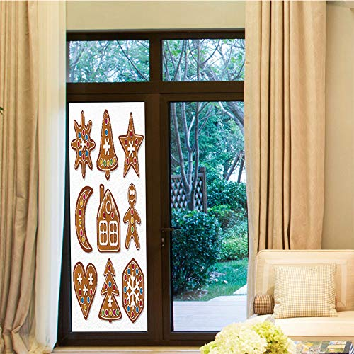 (TecBillion 3D Antifouling Window Film,Gingerbread Man,for Toilet Bathroom Balcony,Set of Graphic Gingerbread Sugar Biscuits with Colorful,24''x70'')