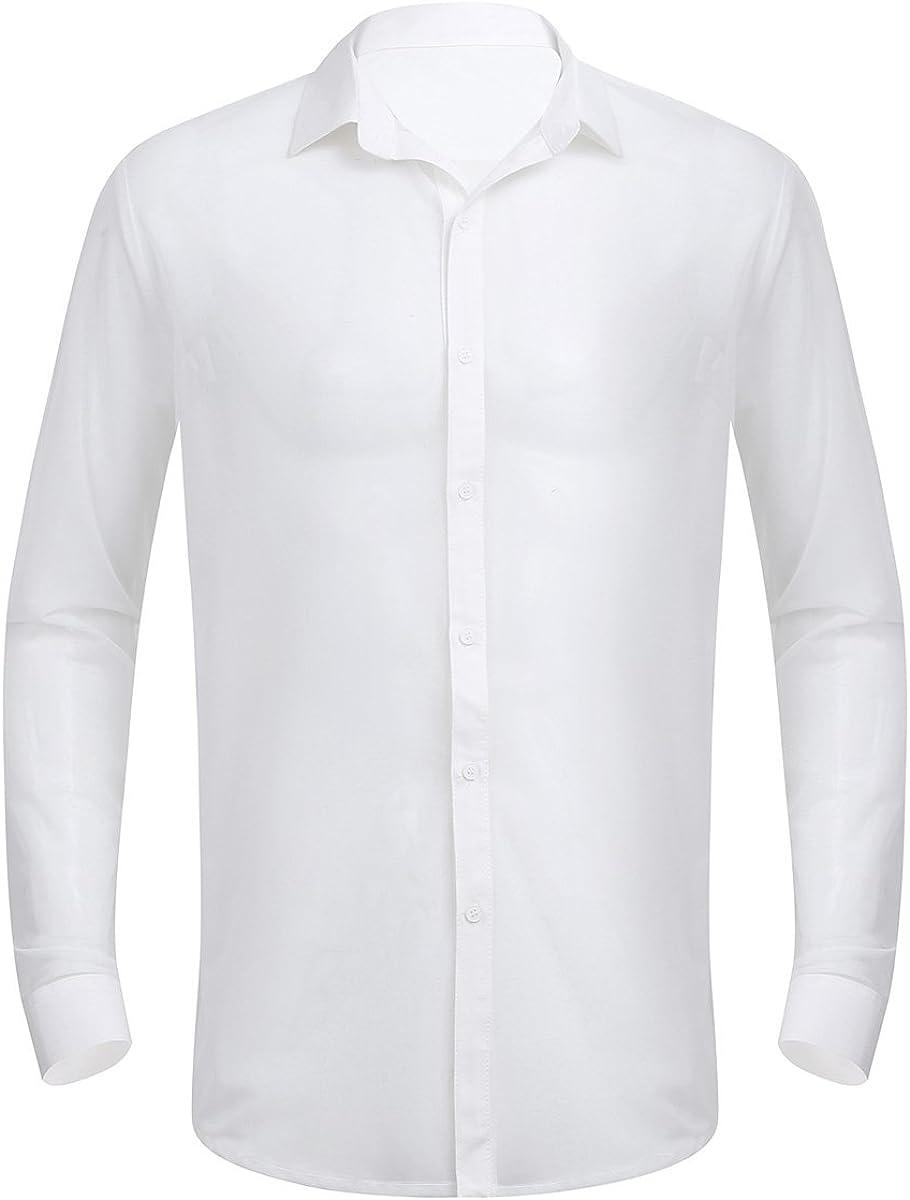 ranrann Camisa de Malla para Hombre Transparente Camisa Manga Larga Verano T-Shirt Blusa Casual Sexy Ropa de Club Disco Clubwear: Amazon.es: Ropa y accesorios