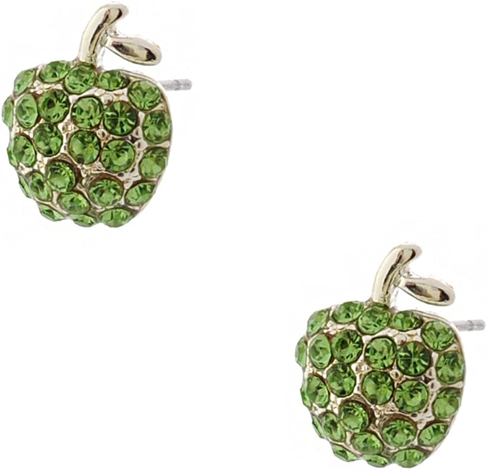Wedding Earrings Silver Peridot Pave Apple Shape Stud Earrings