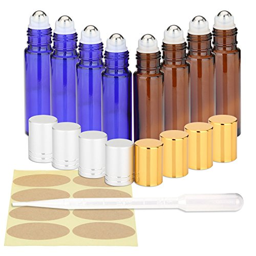 Roll-On-Bottles-Iwotou-10ml-Essential-Oil-Glass-Bottles-with-Stainless-Steel-Roller-Balls-Set-of-8-Refillable-Containers-for-Essential-Oil-Aromatherapy-Perfume-3ml-Dropper-and-Markers-Included