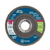 EAB Tool 2175120 4 1/2'' x 120 Grit Standard Wood & Metal Flap Disc - Type 29 Professional Abrasive,
