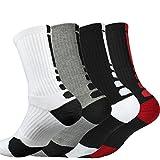 Kacon Dri-fit Cushion Basketball Crew Socks - 3 Pair Pack (Black White Gray Red)