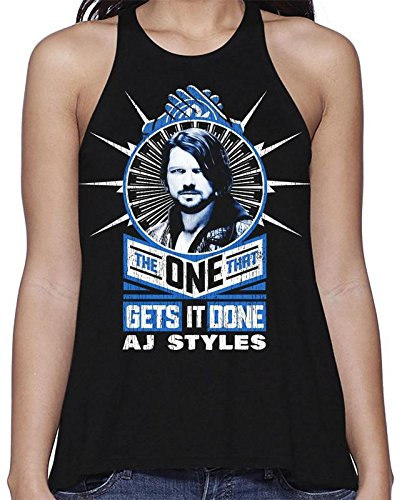 Ripple Junction WWE Womens AJ Styles Get it Done Light Weight Flared Tank Top MD Black