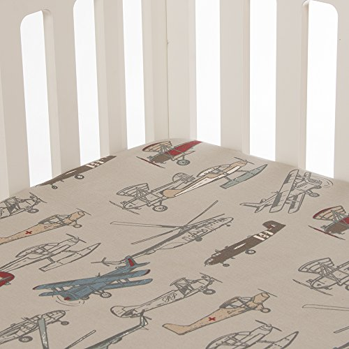 Glenna Jean Fly-By Fitted Sheet, Airplane Print