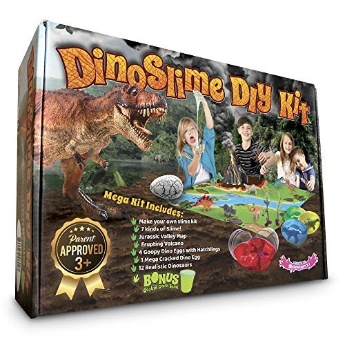 Dinosaur Toys MEGA KIT! OMG! Pre-Made Plus DIY Slime!! - Includes Volcano, 12 Jurassic Dinos, 5-Pack Dinosaur Eggs That Hatch - Non-Stick Playset with Mat Has Surprise Bonus Slime Inside! by Slime-a-Roo