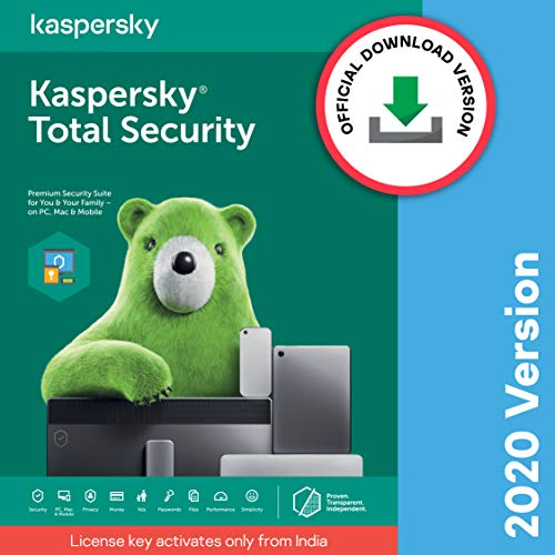 Kaspersky Total Security Latest Version- 1 User, 1 Year (Code emailed in 2 Hours – No CD)