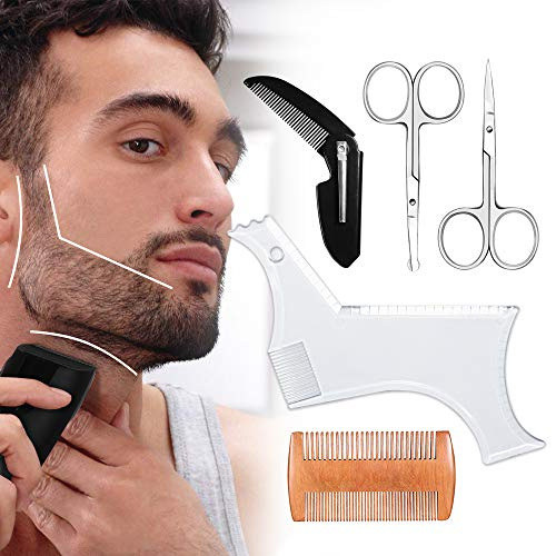 Beard Shaping Tool, Beard Shaping Template & Guide, for Perfect line up & Edging || Come with Beard Shaper & Wood and Folding Comb & Two Scissors - Works with any Electric Trimmers or Clippers