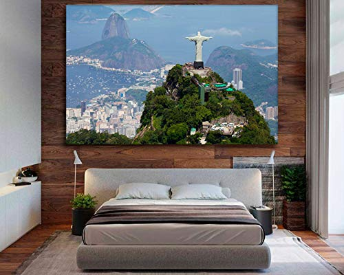 Statue of Christ The Redeemer Rio de Janeiro Canvas Rio de Janeiro Print Brazil Canvas Corcovado Hill Canvas Wall Art Home Decoration 40x60Cm No Frame ()