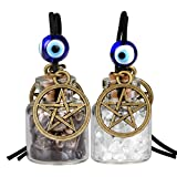 Star Magic Pentacle Small Car Charms or Home Decor Gem Bottles Crystal Smoky Quartz Protection Amulets