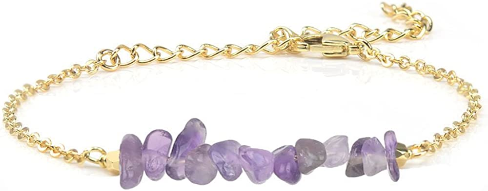 Cheerslife Piedras Preciosas Barra Colgante Pulsera Amatista púrpura Cristal de Cuarzo Naturales de curacion para Mujer Niña, Oro