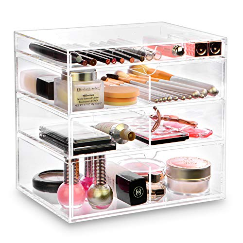 Ikee Design Acrylic Cosmetics Makeup and Jewelry Storage Case Display - Saving, Stylish Acrylic Bathroom Case Great for Lipstick, Nail Polish, Brushes, Jewelry and More (Clear) ()