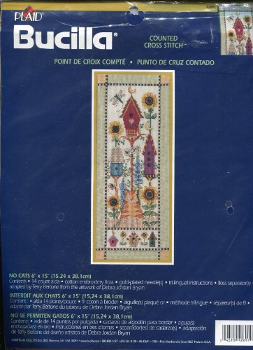 "Plaid Bucilla No Cats 6"" x 15"" Counted Cross Stitch Kit ~ Bi"