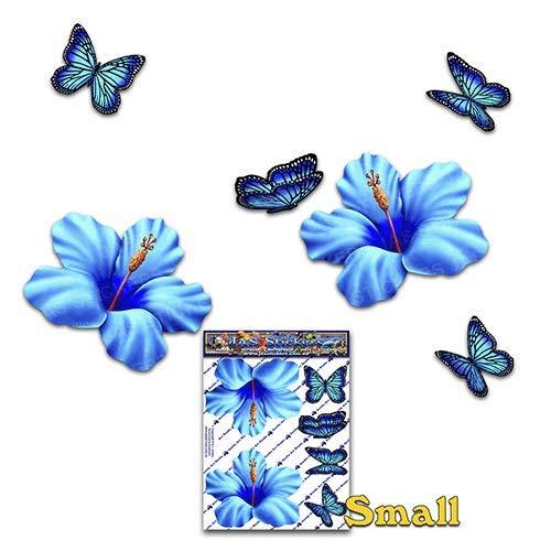 Petite fleur d'hibiscus bleu + papillon animaux autocollants de voiture - ST00023BL_SML - Stickers JAS