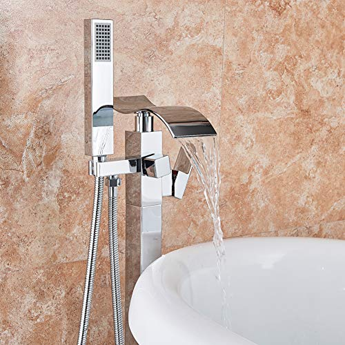 Votamuta Chrome Finish Waterfall Spout Bathroom Tub Filler Faucet Set Floor Mount Single Handle Shower Mixer Tap with Hand Shower Head New