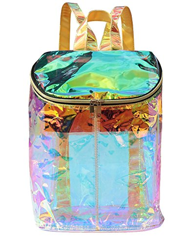 Zicac Clear Bag Transparent Hologram Holographic Envelope Backpack Silver Metallic (Green)