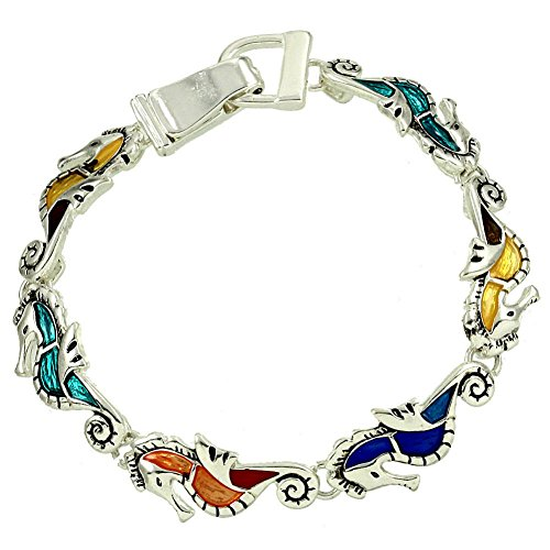 Life Size Godzilla Costume (Silvertone Beautiful Sea life Themed Multi Color Seahorse Magnetic Clasp Closure Charm Bracelet (with Gift Box))