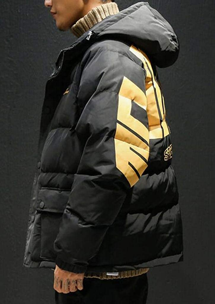 Suncolor8 Men Winter Plus Size Loose Thicken Hoodie Down Quilted Coat Jacket Outerwear
