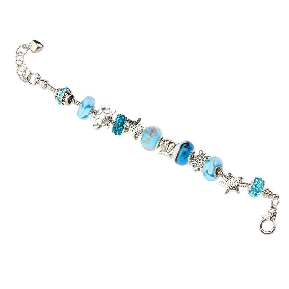 VANKER Oc/éano Granos de Cristal cristalinos Blue Shell Cadena del Pulsera Mujeres de la Muchacha de la joyer/ía