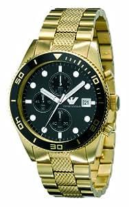 Emporio Armani AR5857 - Reloj cronógrafo de cuarzo para hombre con correa de acero inoxidable, color dorado