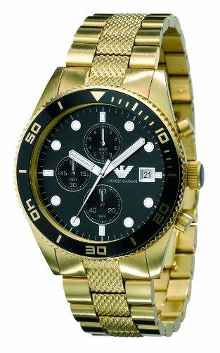 Emporio Armani AR5857 - Reloj cronógrafo de cuarzo para hombre con correa de acero inoxidable, color dorado: Amazon.es: Relojes