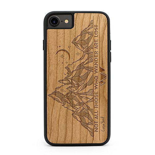 iPhone 8 Plus Case, Protective iPhone 8 Plus Case, CaseYard Protective Wood Engrave Cases Made in California (Reg-Protective Cherry)Tribal Mountains
