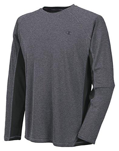 Champion Vapor Mens Long Sleeve T-Shirt_Granite Heather/Black_Medium