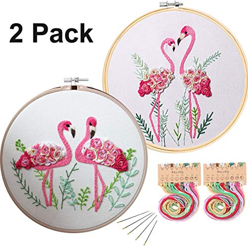 Konrisa Flamingo Embroidery Kit for Beginners with Pattern Floral Stamped Full Range of Embroidery Starter Kit for Adults Cross Stitch Kit with Embroidery Cloth, Hoops, Color Thread and Tools,Set of 2