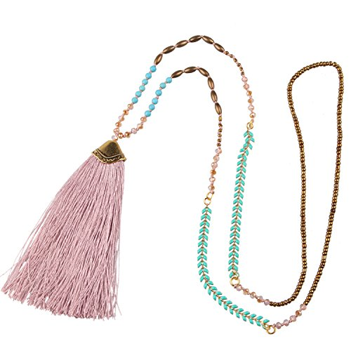 KELITCH Synthetic Turquoise Crystal Beads strand Necklace Tassel Layering Style Pendant Necklace Fashion New Jewelry