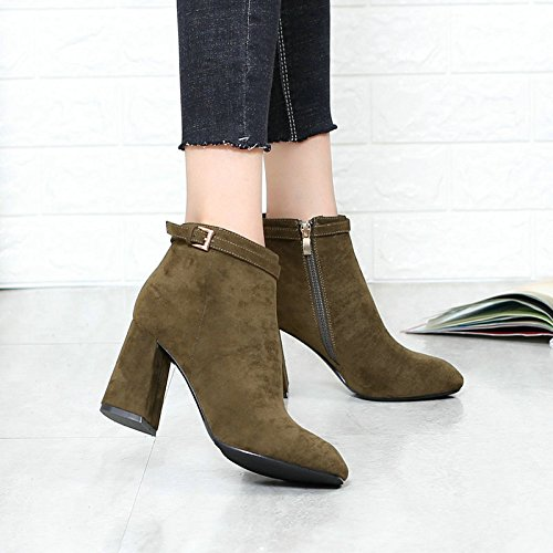 KHSKX-Leisure Rough With Small Square Head Short Canister Boots Suede Belt Buckle Martin 8Cm And British Single Green Boots Shoes Thirty-eight