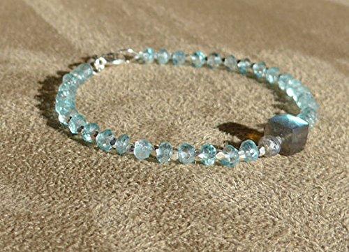 Aquamarine Bracelet, Aquamarine Silver, Gemstone Bracelet, Labradorite Cube, Contemporary, Blue Bracelet, Aquamarine Anklet, Blue Anklet 3.5 mm -7mm