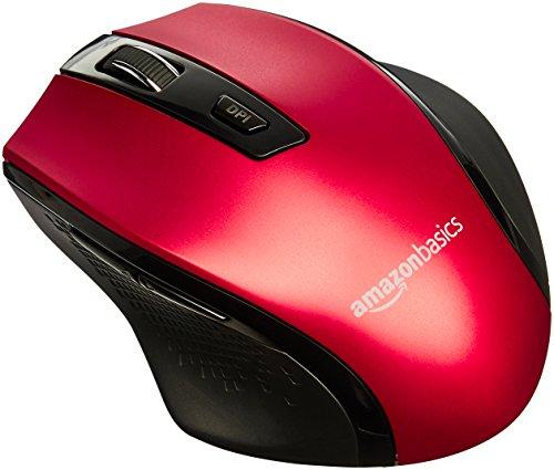 AmazonBasics Ergonomic Wireless Mouse - DPI adjustable - Red