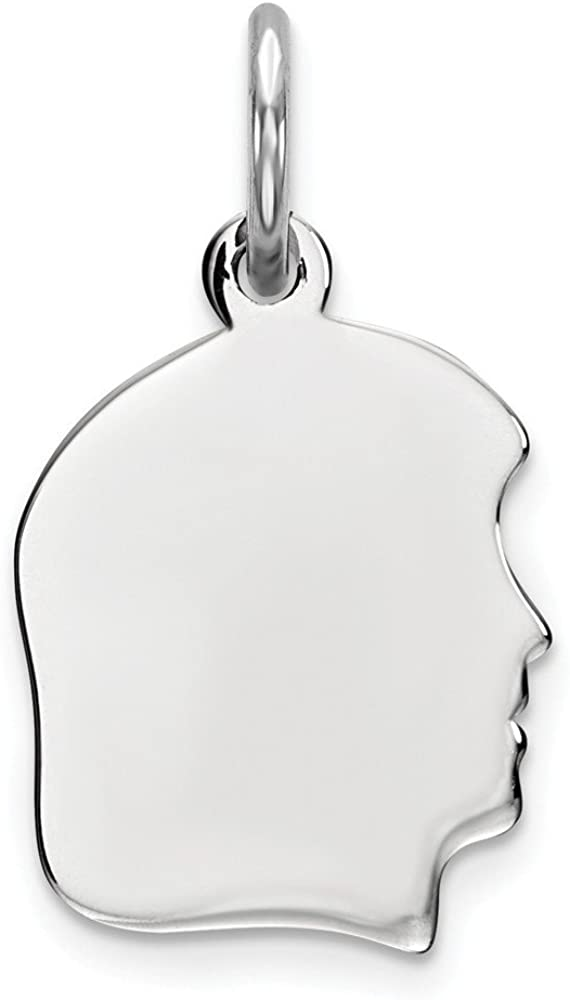 Sterling Silver Engravable Polished Front//Satin Back Disc Charm