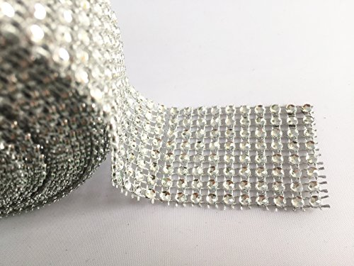 "Derker 8 Row Acrylic Bling Rhinestone Diamond Crystal Mesh Wrap Roll Cake Ribbon Banding, Wedding and Party Decoration, 1.5"" X 10 Yards (Silver)"