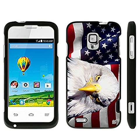 ZTE Rapido LTE Z932L/ Z932C(Straight Talk,Net 10,Tracfone) Beyond Cell ®2 piece Snap On Case With Premium Protection Slim Light Weight Non-Slip Matte Hard Shell Rubber Coated Rubberized Protective Phone Case Cover With Design - Gaze Eagle With American Flag Design - Retail (Zte Rapido Phone Cases)