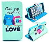 iPhone 5S Case,iPhone SE Case, Welity Retro owl Love PU Leather Wallet Type Magnet Design Flip Case Cover Credit Card Holder Pouch Case for Apple iPhone 5S/SE/5G