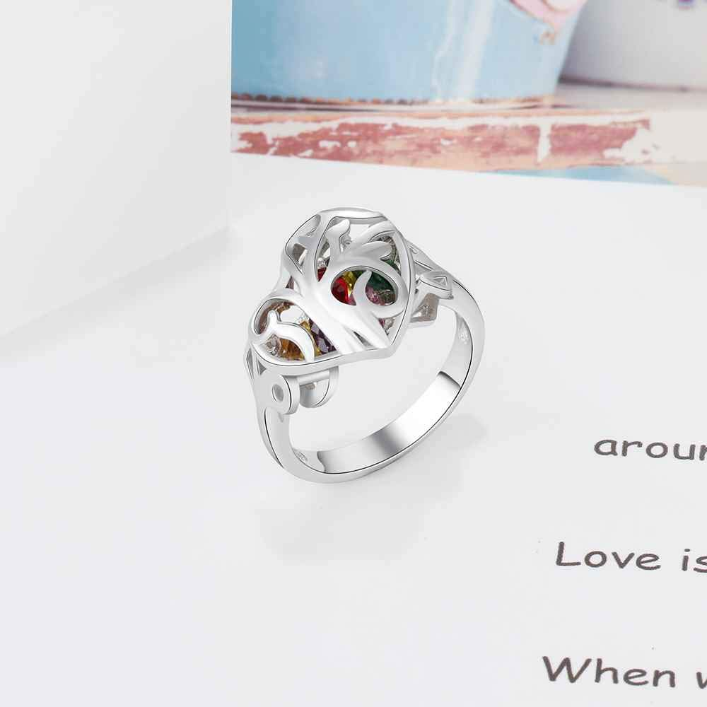 or Mothers Ring Select from Sizes 6 to 9 Memories Friendship Roy Rose Jewelry Sterling Silver Personalized Heart Shape Birthstones with Custom Engraved Inside Band