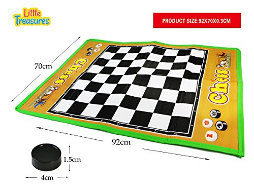 Checkers Mat Game play set for beginners – the large sized board 36×27 IN and 24 game pieces; fun learning time for 3+ kids