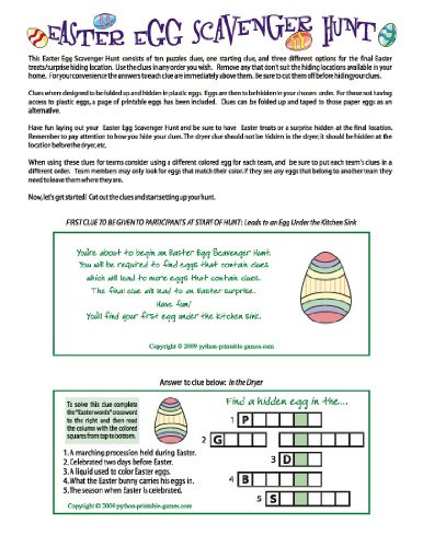 Printable Easter Egg Scavenger Hunt Clues Game for Mac -