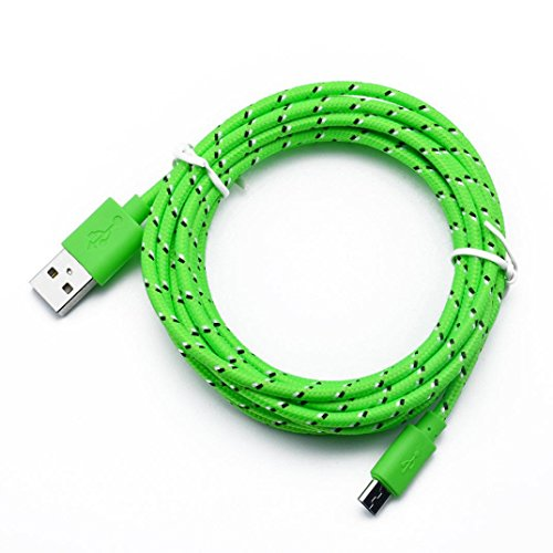 Iuhan Hemp Rope Micro USB Charger Sync Data Cable Cord for Cell Phone (Length: 1M, Green)
