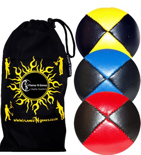 3x Pro Juggling Balls - Deluxe (LEATHER) Professional Juggling Balls Set of 3 +Fabric Travel Bag. (Red/Blue/Yellow) Flames 'N Games