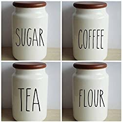 Rae Dunn Inspired Vinyl Decal Sticker Label Set For Kitchen Canisters