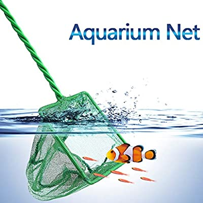 Binory Aquarium Net Fish Tank Net Leaf Skimmer Rake Mesh Frame Cleaning Net with Plastic Handle, Fine Mesh Net Bag Catcher,Shallow Pool Cleaner Tool for Swimming Pool,Fish Tank and Fishing Game(C): Toys & Games